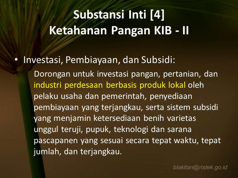Substansi Inti [4] Ketahanan Pangan KIB - II